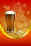 Background abstract red gold drink glass dark beer pistachios vertical frame illustration Stock Photos
