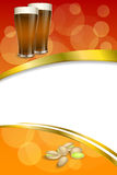 Background abstract red gold drink glass dark beer pistachios vertical frame illustration Stock Photo