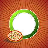 Background abstract red pizza green circle frame illustration. Vector Stock Photos