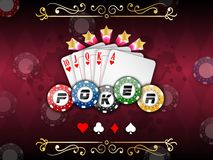 Background abstract red with playing cards with poker chips. Illustration of Background abstract red with playing cards with poker chips Royalty Free Stock Photography