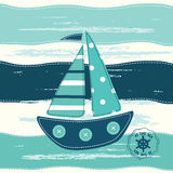 Background with abstract sailing ship Royalty Free Stock Images