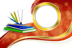 Background abstract school green book blue notebook ruler pen pencil clip compasses red yellow gold ribbon circle frame Stock Images