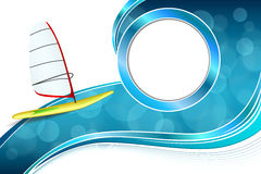 Background abstract sea sport holidays design red green windsurfing blue circle frame illustration Royalty Free Stock Photo