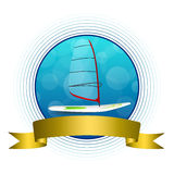 Background abstract sea sport holidays design red green windsurfing blue circle gold ribbon frame illustration