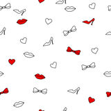 Background abstract seamless lips shoes hearts bows white and red Royalty Free Stock Photography