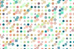 Background abstract shape, pattern for design. Circle, rectangle, lots & texture. Mixed colored rectangle, triangle, circle, ellipse & star shape pattern for vector illustration
