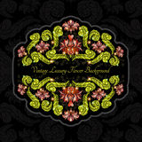 Background with abstract shiny flowers and leaves of peony. Abstract shiny flowers and leaves of peony. Color banner on black pattern background. China style stock illustration