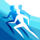 Background with abstract stylized running men Royalty Free Stock Photo