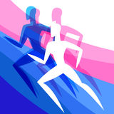 Background with abstract stylized running women Stock Photo