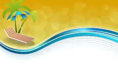 Background abstract summer beach vacation deck chair umbrella blue yellow frame wave illustration. Vector Stock Images