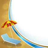 Background abstract summer beach vacation deck chair umbrella blue yellow frame wave illustration Stock Photos
