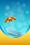 Background abstract summer beach vacation deck chair umbrella blue yellow vertical frame illustration Stock Photos