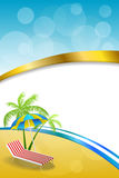 Background abstract summer beach vacation deck chair umbrella blue yellow vertical gold ribbon illustration. Vector Royalty Free Stock Image