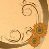 Background with abstract sunflowers Royalty Free Stock Photos