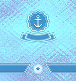 Background with abstract texture and marine emblem Stock Photo