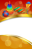 Background abstract toys pyramid ball kite blue green red yellow frame vertical gold ribbon illustration Stock Photo