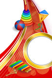 Background abstract toys pyramid ball kite blue green red yellow gold circle ribbon vertical frame illustration Royalty Free Stock Photos