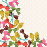 Background with abstract various bows and ribbons Stock Images