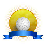 Background abstract volleyball blue yellow ball circle ribbon frame illustration Stock Photos
