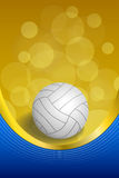 Background abstract volleyball blue yellow white ball gold ribbon vertical frame illustration. Vector Stock Image