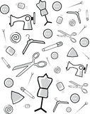 Background from accessories for cutting and sewing. A vector illustration Stock Images