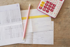 Background accounting passbook bank and payment slip Royalty Free Stock Photography