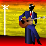 Blues Guitarist at the Crossroads. Background for an acoustic concert poster or flyer vector illustration