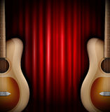 Background with acoustic guitar Royalty Free Stock Photos