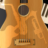 Background acoustic guitar with light shadows Royalty Free Stock Photo