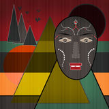 Background with African design elements and mask Royalty Free Stock Photos