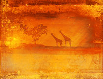 Background with African fauna and flora. Raster llustration Stock Image