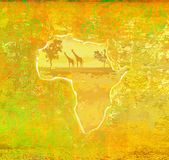 Background with African fauna and flora. Raster llustration Stock Images