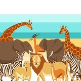 Background with African savanna animals. Stylized illustration vector illustration