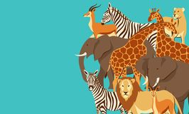 Background with African savanna animals. Stylized illustration royalty free illustration