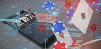 Background against 3d image of slot machine on mobile phone vector illustration