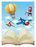 Background with aircrafts in sky. Illustration Stock Photos
