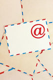 Background from airmail envelopes and e-mail Stock Images