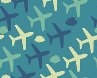 Background airplane and clouds. Vector seamless pattern Stock Photo
