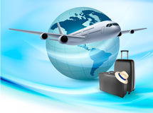 Background with airplane and globe. Royalty Free Stock Image