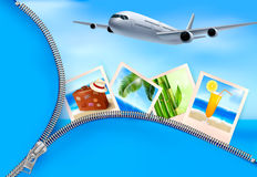 Background with airplane and with photos from holi. Days. Travel concept. Vector Stock Photography