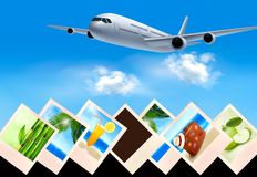 Background with airplane and with photos from holi. Days. Travel concept. Vector Stock Photo