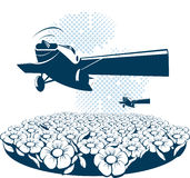 Background with a airplanes. A background with a airplanes and flowers. Vector illustration for use as a filer or poster Royalty Free Stock Photo
