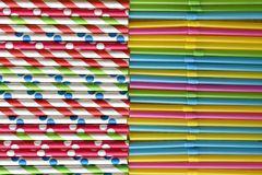 Background of aligned paper straws vs plastic single use neon straws. royalty free illustration