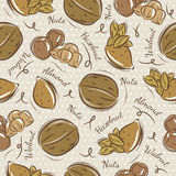 Background with almond, hazelnut and, walnut Stock Image