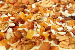 Background from almonds, raisins and nuts Royalty Free Stock Photography