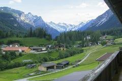 Background Alpine village in Austria Stock Image
