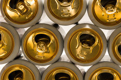 Background of aluminum cans for drinks. Royalty Free Stock Photos