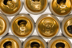 Background of aluminum cans for drinks. Stock Image