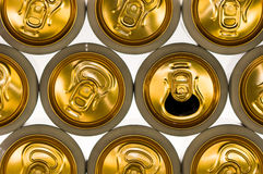 Background of aluminum cans for drinks. Stock Photos
