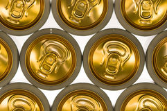 Background of aluminum cans for drinks. Royalty Free Stock Photography